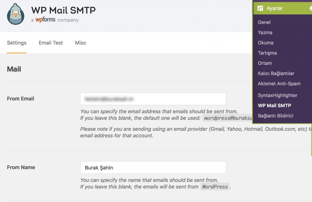 WP Mail SMTP Ayarları