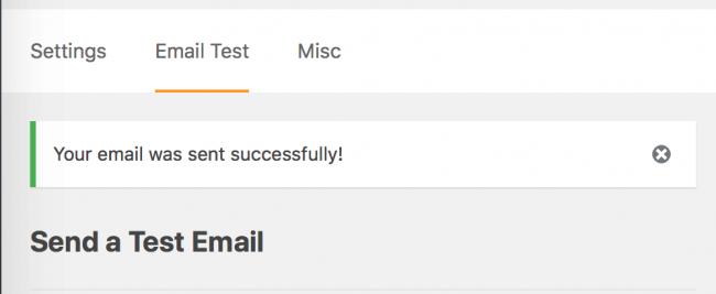 WP Mail SMTP test e-postası başarıyla gönderildi