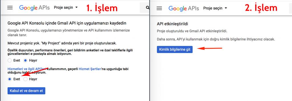 Gmail uygulama kaydı için bir proje oluşturma