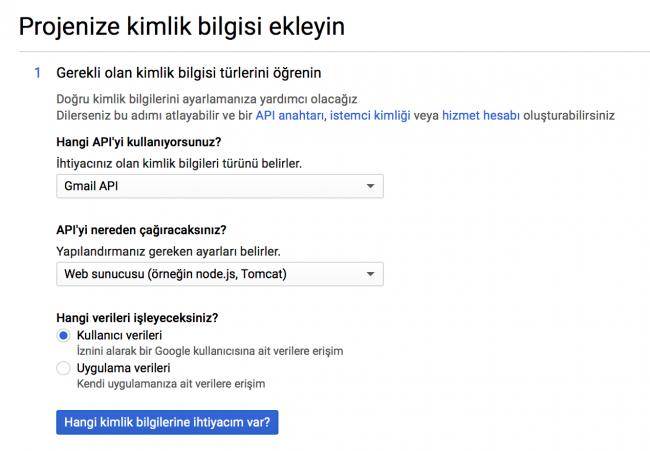 Gmail uygulama projesine kimlik bilgilerini ekleme
