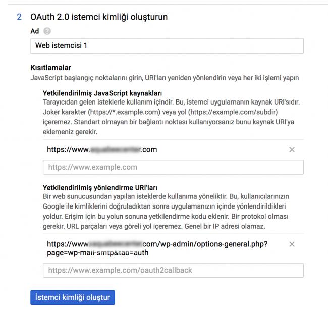 Google OAuth istemci kimliği oluşturma