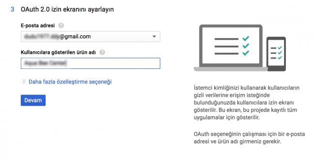OAuth 2.0 izin ekranı ayarları