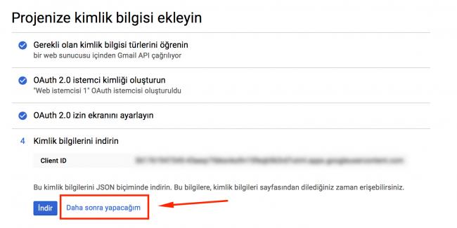 Gmail uygulama kurulumu işleminde son sayfa